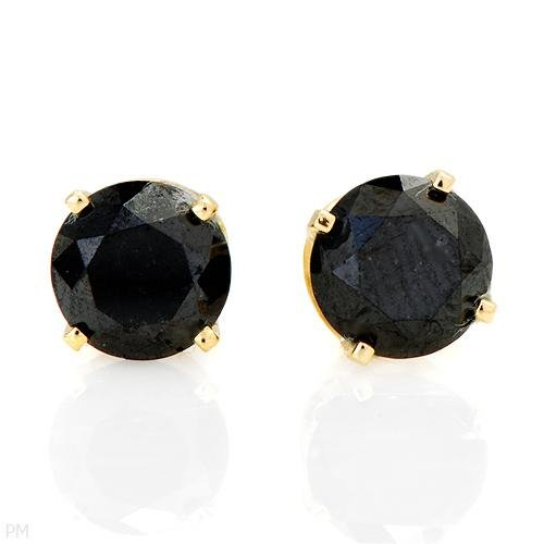 1.10 ctw Black Diamond Round Earrings w/ Yellow Gold