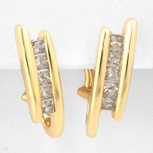 Princess Cut Diamond Earrings .75ctw Great Sparkle