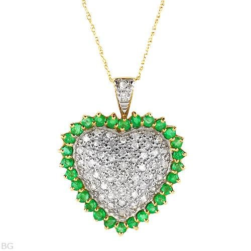 Stunning .76 C Diamond and Emerald Necklace Elegant