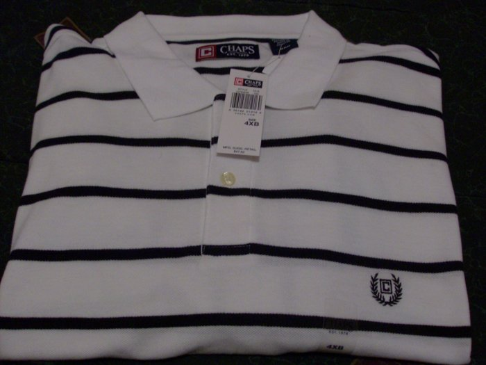 NWT Chaps Golf Polo Shirt Size 4XB, XXXXB White New