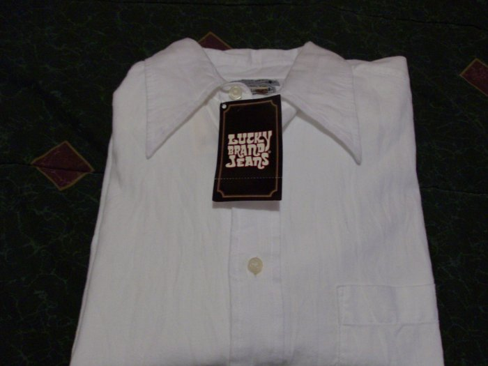 NWT Lucky Brand White Dress Shirt Size L New