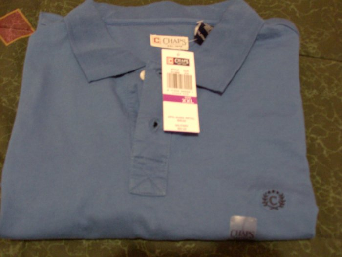 NWT Chaps Golf Polo Shirt 2X Blue XX New Ralph Lauren