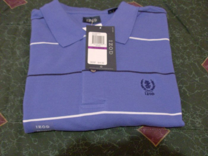 NWT Blue Stripped Izod Polo Shirt Sz 2X, XX New