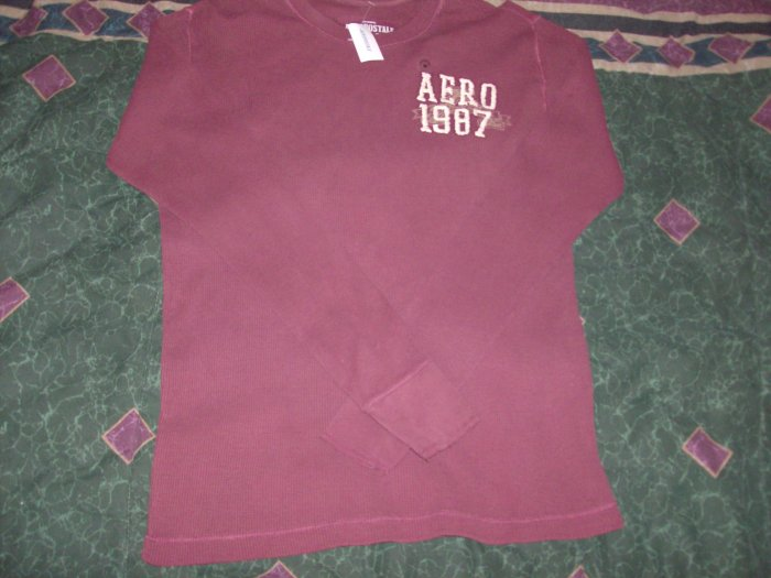 NWT Men's Aeropostale Burgundy Long Sleeve Shirt Sz. L