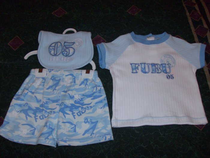NWT Adorable 3 PC Army Camouflage Blue FUBU Set 6-9 months