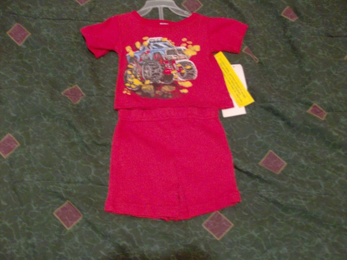 NWT Stylish 2 Piece Big Trucker Red Set 3T