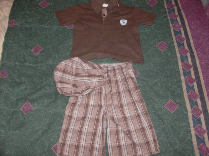 NWT Stylish Fisher Price Brown Plaid Medley 3 PC Set 4T
