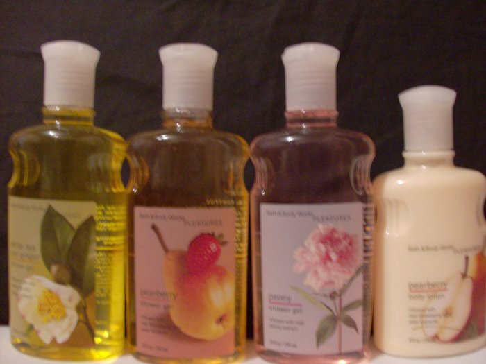 Bath and Body Works Shower Gels and Lotion White Tea and Ginger, Peony, Pearberry