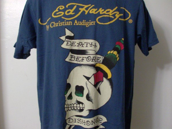 NWT Rare Authentic Ed Hardy Death Before Dishonor Shirt Sz L