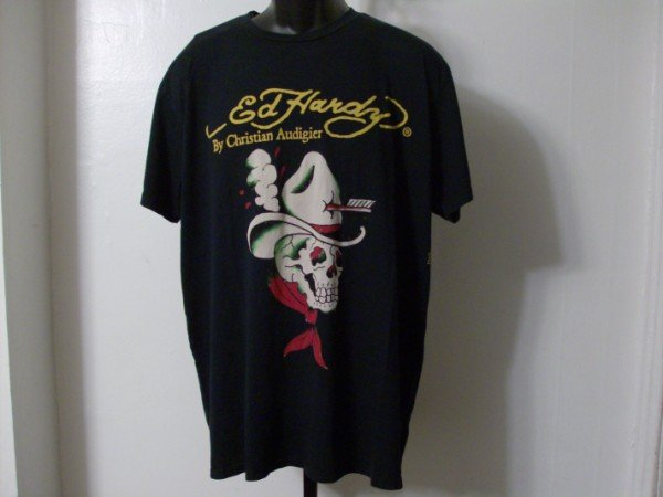 NWT Rare Authentic Ed Hardy Menacing Cowboy Skull Shirt Sz XL