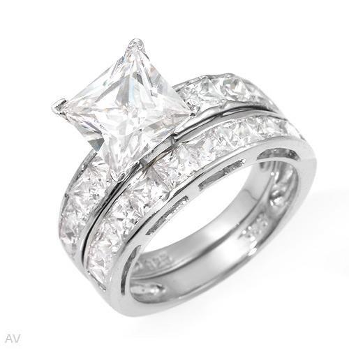 Amazing 3 Stone Cut 9.55 ctw Cubic Zirconia Engagement Ring Set Size 5
