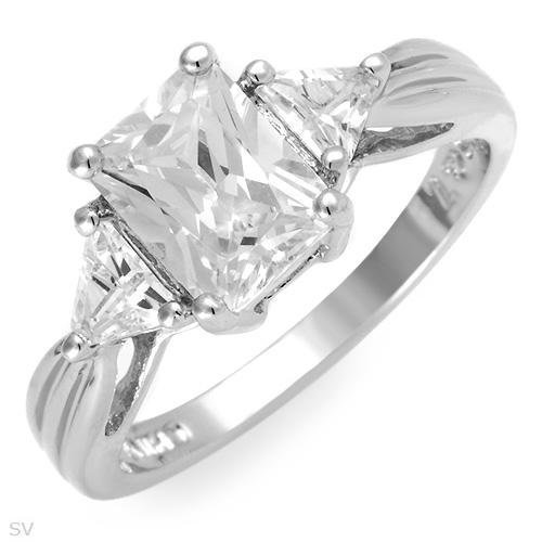 Amazing 3 Stone Princess and Triangle Cut 9.45 ctw Cubic Zirconia Engagement Ring Size 7