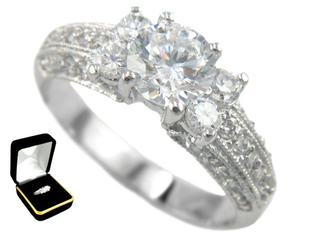 2.17CTW Brilliant Cut 18K Bridal Engagement Ring size 7