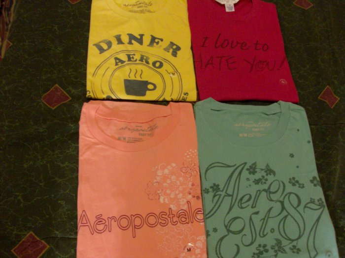 4 Aeropostale Womens Baby Fit Tees