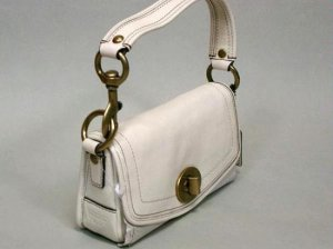 NWT Authentic COACH White Leather Legacy Flap Handbag