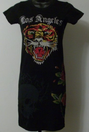 Ed Hardy Stone Tiger, Skull and Roses Dress with Rhinestones