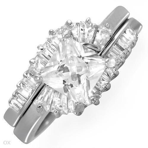 4.15 ctw Cubic Zirconia Baguette Cut Engagement Ring Set 8