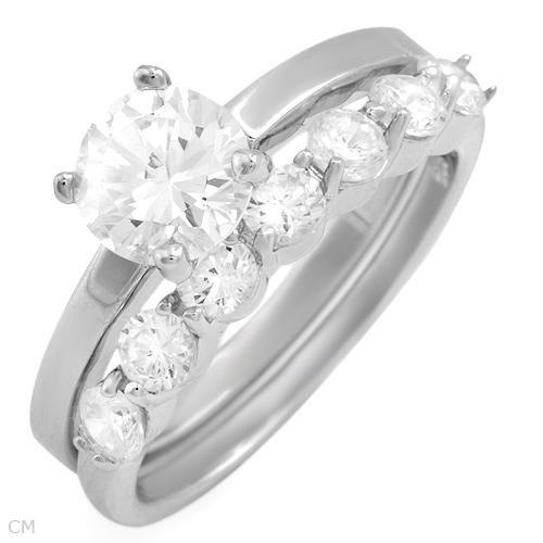 3.50 ctw Cubic Zirconia Round Cut Engagement Ring Set 6