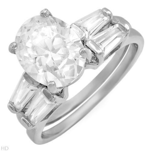 6.60 ctw Cubic Zirconia Unique Engagement Ring Set Size 7