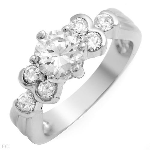 2.05 ctw Cubic Zirconia Round Accent Engagement Ring Size 5