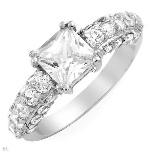 4.82 ctw Cubic Zirconia Princess Cut Engagement Ring Size 5