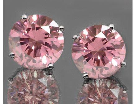 Stunning Round Cut Pink Diamond Earrings