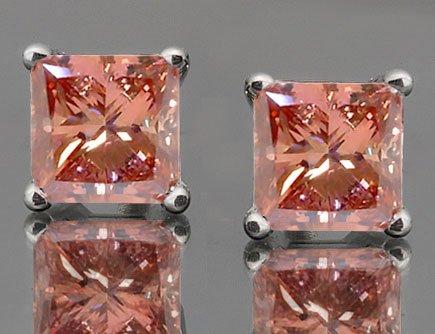 Stunning Princess Cut Pink Diamond Earrings