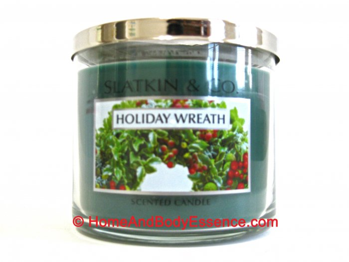 Bath & Body Works Slatkin Holiday Wreath 3 Wick Scented Filled Jar Candle Home Fragrance 14.5 oz