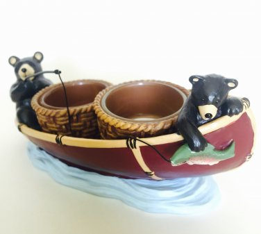 Yankee Candle Mountain Lodge Bear Double Tea Light Holder Fishing Boat Classic Home Decor