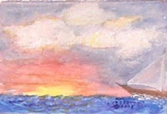 061 Sunset at Sea, framed
