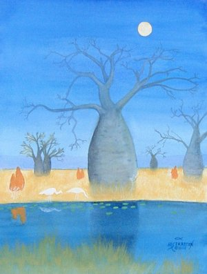 099 Boab (Baobab) Trees by Moonlight - SOLD