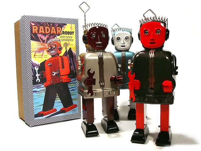 Radar Robot (Zoomer) Battery Operated Tin Toy - Charcoal/Red