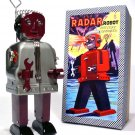 Radar Robot (Zoomer) Battery Operated Tin Toy - Gray/Burgundy