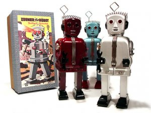 Zoomer Robot Battery Operated Tin Toy - Silver