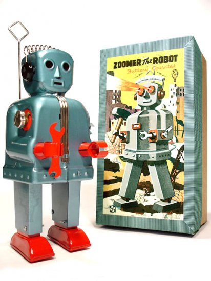 Zoomer Robot Battery Operated Tin Toy - Blue