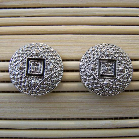 silver with black detail stud earrings