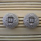 silver with black detail stud earrings