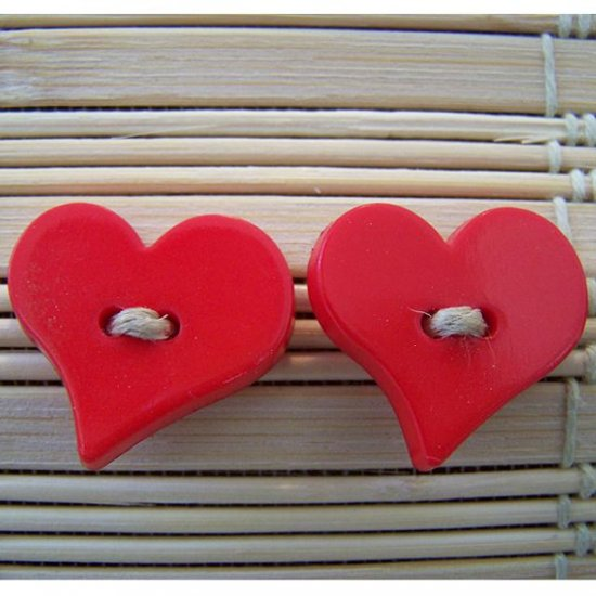 red big heart stud earrings with hemp twine