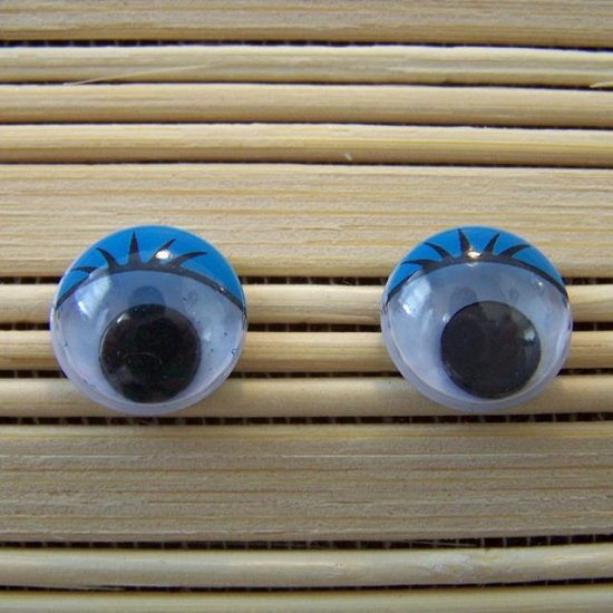blue eyelid wigglie eye stud earrings