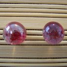 glass with ruby glitter stud earrings