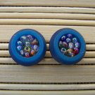 blue beadded button stud earrings