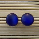 royal blue frosty stud earrings