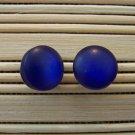royal blue frosty stud earrings