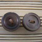 brown plain button stud earrings