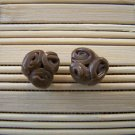 clay brown rose stud earrings