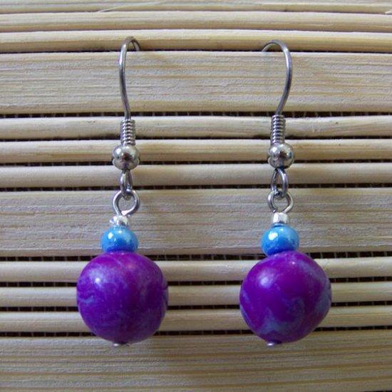 clay purple and blue dangle earrings