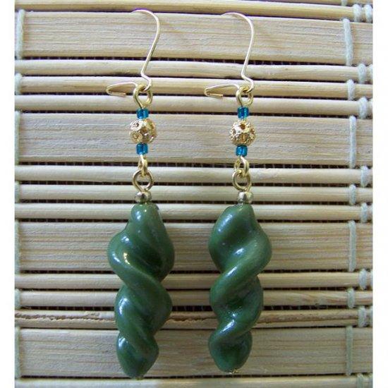 clay earthy green spiral dangle earrings