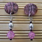 pink shell 80s feel stud with dangle earrings
