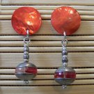 red and silver ufo-like stud with dangle earrings