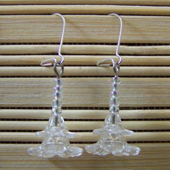 clear tiered flower dangle earrings